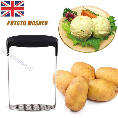 Stainless Steel Wide Grip Metal Potato Masher Vegetable Juicer Maker Crusher