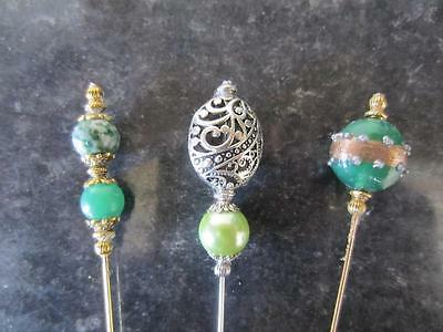 """THREE LONG GREEN Tibetan Vintage Antique Style Hat Pins 6"""" With Pin Protector"""