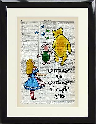 Dictionary Art Print Alice in Wonderland Winnie Pooh Piglet Curiouser Quote Gift