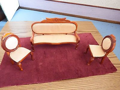 doll house furniture vintage  sofa and 2 armchairs 1.12th