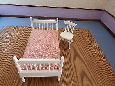 doll house furniture white single bed  and chair 1.12 th