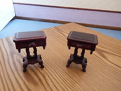 doll house furniture 2x dark wood bedside table 1.12th