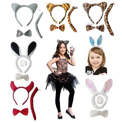 New Kids Animals Costume Bunny Rabbit Headband Ears Tail Bow Tie Outfit Dressing