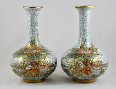 A Pair Of Crackle Glaze Oriental Ceramic Decorative  Bottle Vases