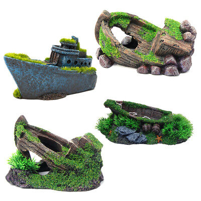 Moss Covered Small Boat Ship Wreck Aquarium Ornament / Fish Tank Decoration