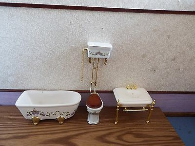dolls house furniture ornate victorian style bathroom set 1.12th scale