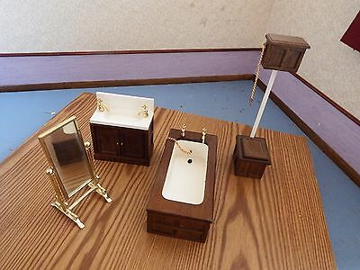 dolls house furniture oak victorian style bathroom set 1.12th scale