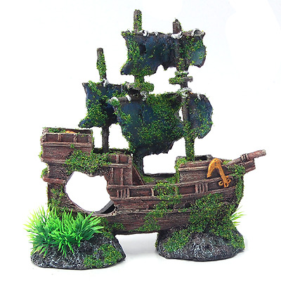 Moss Covered Sunken Pirate Shipwreck Aquarium Fish Tank Boat Ornament Decoration