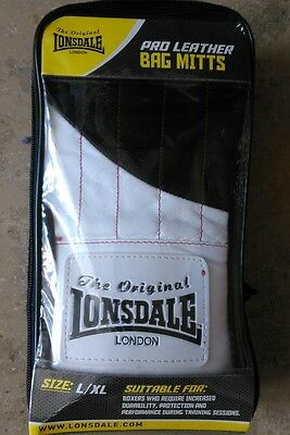 Lonsdale Pro Leather Bag Mitts, Large/xl, Boxing Gloves