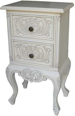 EX-DISPLAY French 2 Drawer Bedside Table Cabinet Antique White Solid Mahogany