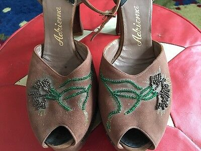 1940s Original Platform Suede Jewelled Sandals  UK  6.5 / 7