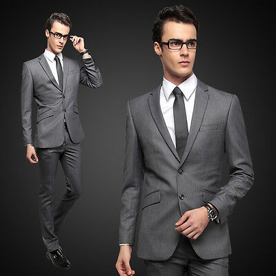 Slim Fit Suit 2 Button Dark Charcoal Grey G2000 MAN Flat Front Pants New Style