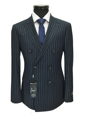 PAMONI Navy Pinstripe Double Breasted Slim Fit Suit