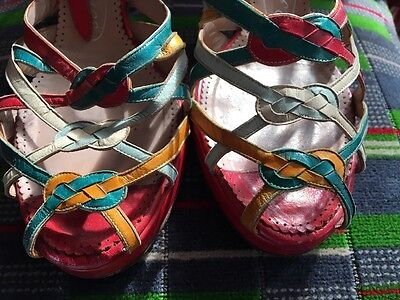1940s Original Platform Red Multicoloured  Sandals UK  6.5 / 7