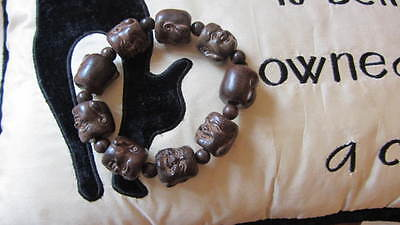 Old Boxwood Carved Smiling Buddha Head Bracelet Stretch New.
