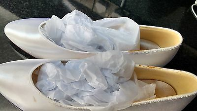 Size 6.5 white satin wedding shoes