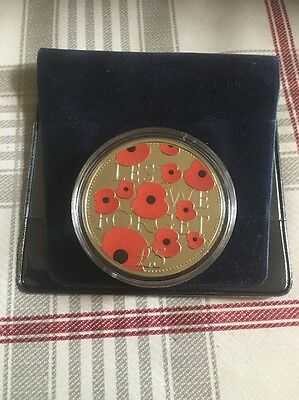 2016 Bailiwick Of Jersey Poppy Lest We Forget £5 Five Pound Coin Unc In Case