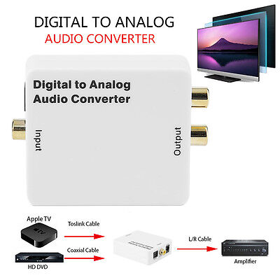 Digital Optical Coaxial Toslink Signal to Analog Audio Converter Adapter L/R GT