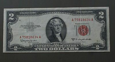 US Currency  - $2 Dollar Bill - Series 1953C - Dillon & Gesham - Red Seal Note