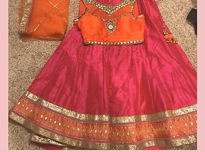 Hot Pink And Orange Silk Lehenga Chaniya Choli
