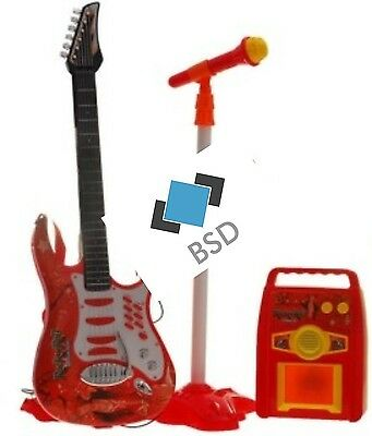 Rock Guitar with Steel Strings, Amplifiers, Adjustable stand and Microphone - Ro