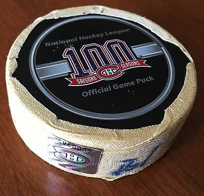 Alex Tanguay Montreal Canadiens Game Used Goal Puck 2008-2009