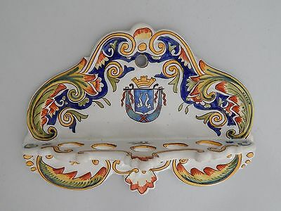 Vintage French Rouen Desvres Faience Pipe Holder Crest for St Valery en Caux