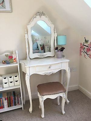 vintage ornate shabby chic style dressing table with stool and matching mirror