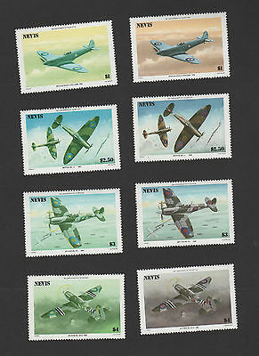 Nevis 1986 Spitfires SC#460-3 Missing Red Error Set With Normal Set to Compare!