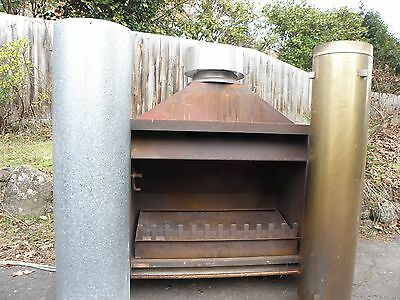Jetmaster Wood Heater Fire Place Very Large With Tray Flue Cowl Cap