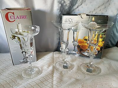 VINTAGE CRYSTAL CANDLE HOLDERS COLLECTION.  MIKASA PAIR & x1 CLAIR OF GERMANY.