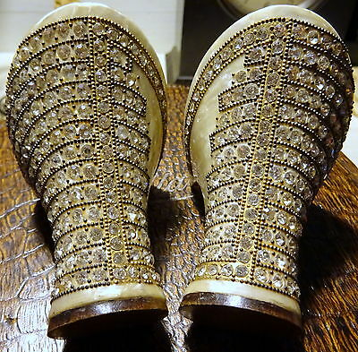 Rare Flapper 1920s Jewelled Shoes Heels Rhinestone Brass Beads on Celluloid Vtg
