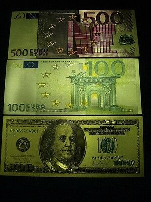 3x Gold Plated hot-pressed on polycarbonate Banknote