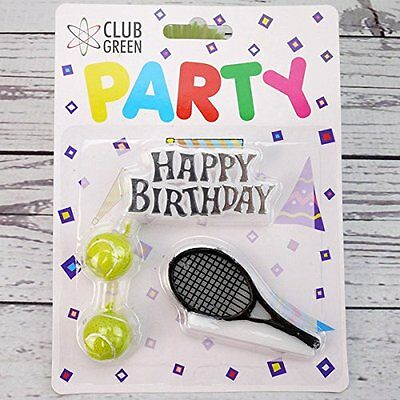 "CLUB GREEN ""Happy Birthday, 2 Tennis Balls, 1 Racquet"" Candle Kit, Yellow"