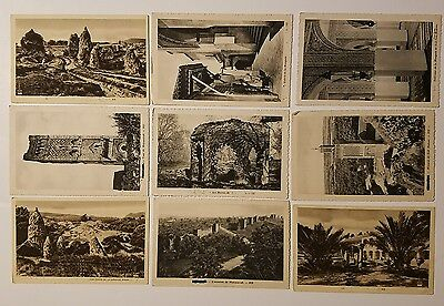 WWII Soldier's CENSORED mail 9 POSTCARD SET - locations in FRANCE