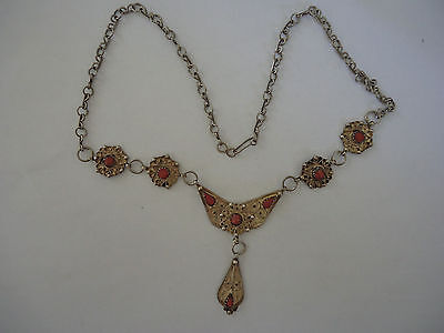 Collier Chaine & Pendentif Argent & Corail Artisanat Maghreb Silver Necklace