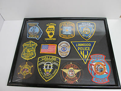 11 Police Patches Framed
