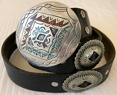 Old Pawn Fragmented Turquoise & Coral Native Artist Signed Concho Belt & Buckle