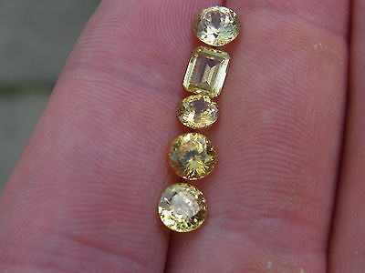 5.2 Ct Lot Of Rare 100% Natural Ceylon Zircon Canary Yellow Color Great Luster..