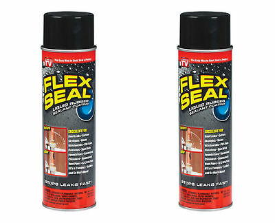 2 Bottles Flex Seal Black 14 Oz As Seen on TV Stop Leak Aerosol Spray Coating