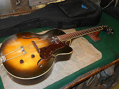 Vintage 60's Silvertone Archtop Acoustic Cutaway Guita w' Lipstick Pick-Up case