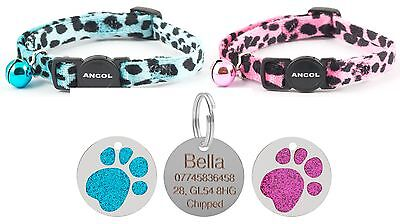 ANCOL Cat Collar Leopard Print Quick Release With Free Engraved 25mm Paw ID Tag