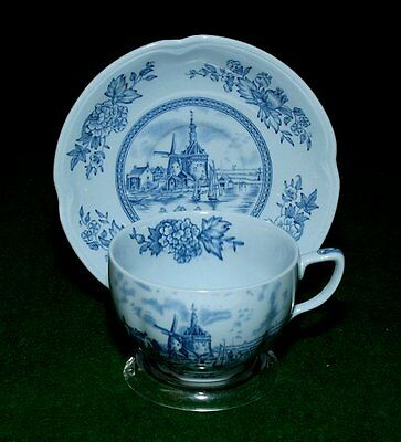 2 Johnson Bros blue cups/saucers Tulip Time and Roses