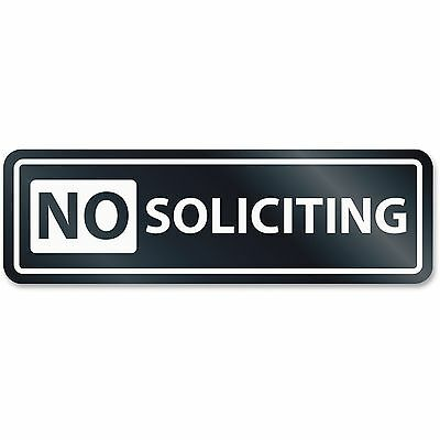 """U.S. Stamp & Sign No Soliciting Window Sign 2-1/2""""x8-1/2"""" White 9435"""