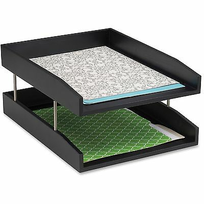 Safco Wood Double Letter Tray Black 3281BL
