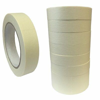 """(PACK OF 9) 25mm x 50M Roll Masking tape 1"""" decorators painters easy tear tape"""