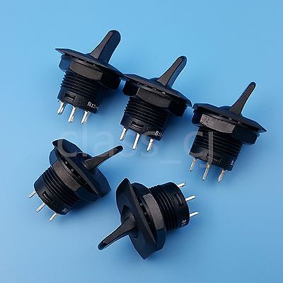 5Pcs R13-402 Black ON-ON 3Pin 2Position Maintained SPDT Round Toggle Switch