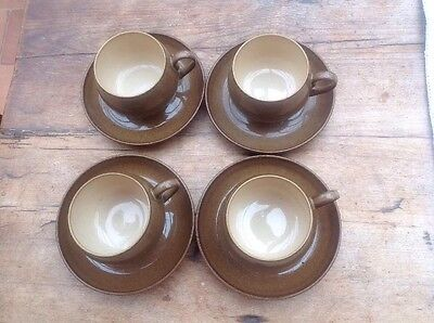 Set Of 4 Denby Handcrafted Stoneware Pampas Ribbed Cups and Saucers