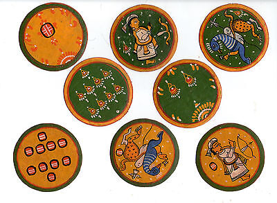 0ld INDIA Playing Cards Mogul Ganjifa 96 hand painted round cards #003