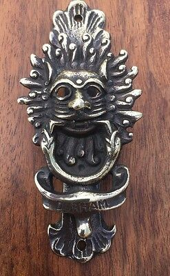Vintage Brass Lion's / Cat Head Door Knocker - Durham